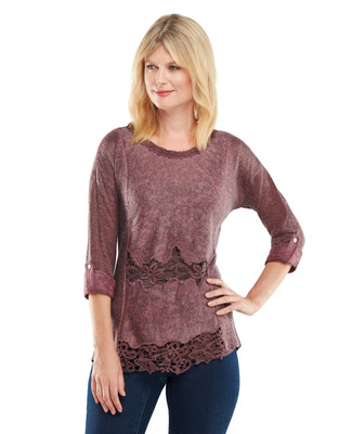 NEW - Lace Trim Roll Sleeve Top