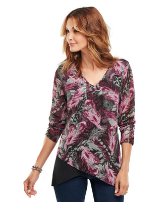NEW - Feather Print Sharkbite Tunic