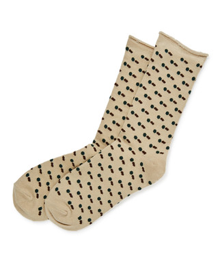 All Over Dot Roll Top Sock