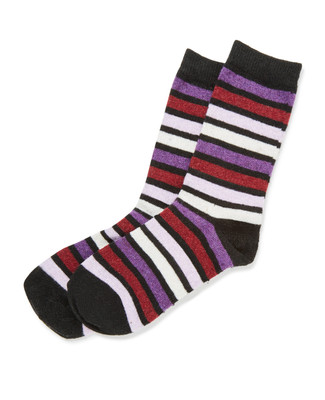 Black Stripe Angora Socks