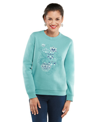 NEW - Petite-Snowflake Collage Graphic Sweatshirt