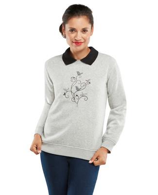 Petite Birds Collared Graphic Sweatshirt