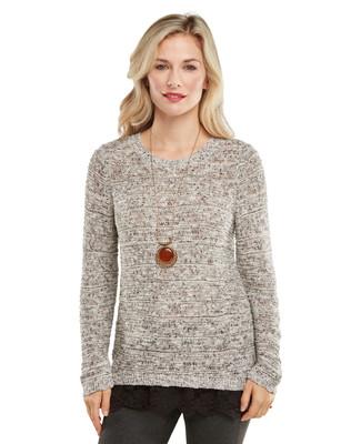 Lace Hem Pointelle Pullover