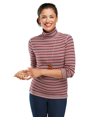 Long Sleeve Stripe Turtleneck