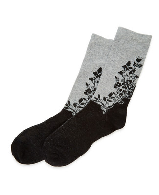 NEW - Black Floral Sock