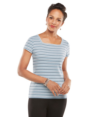 NEW - Stripe Square Neck Tee