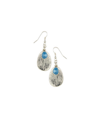 Silver Texture Drop Earrings