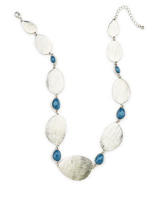 Silver Texture Statement Necklace