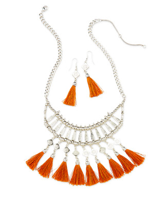 Statement Necklace With Fabric Tassels