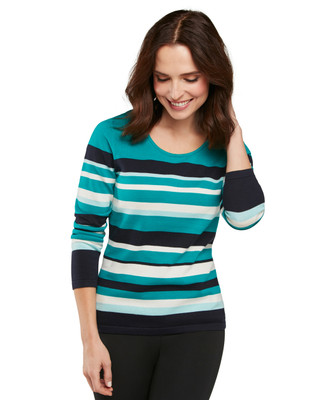 Cotton Stripe Crewneck Pullover