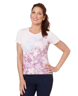 Petite Lacey Floral Crewneck Graphic Tee