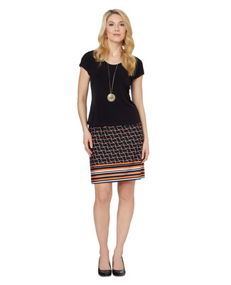 Petite Geo Stripe 2pc Skirt Set