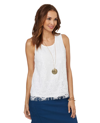 NEW - White Lace Front Tank
