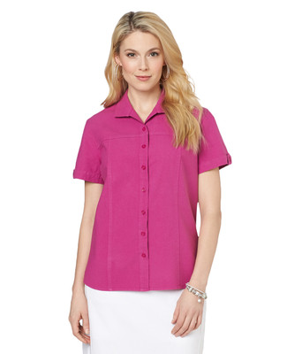 Short Sleeve Garment Dye Sheeting Shirt