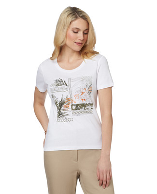 NEW - Petite Tropical Collage Graphic Scoopneck