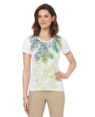 Palm Front Graphic Scoopneck