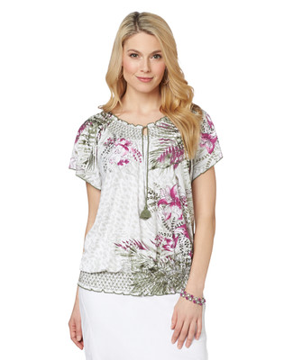 NEW - Contrast Floral Peasant Top