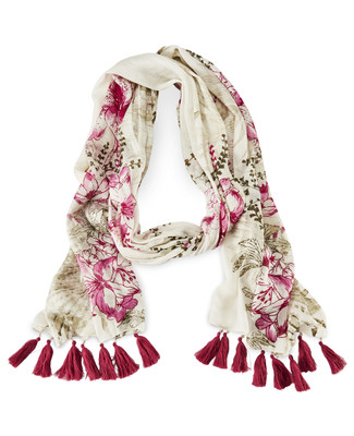 Tassles and Floral Scarf