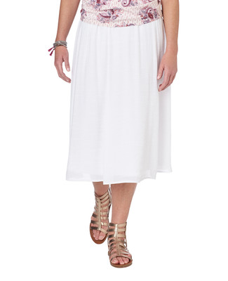 NEW - Long Textured Skirt - White