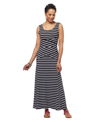 Stripe Angled Maxi Dress