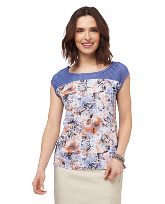 NEW - Tile Print Mix Media Top