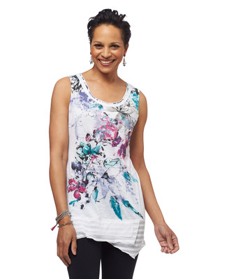 NEW - Sketch Floral Uneven Hem Top