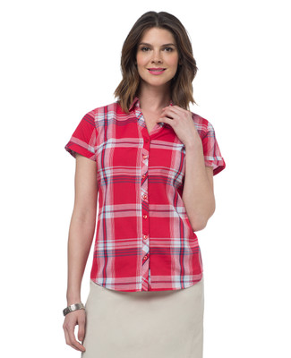 NEW - Red Cotton Plaid Blouse