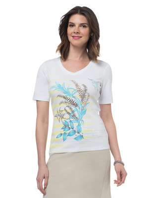 Striped Leaf V-Neck Graphic Tee