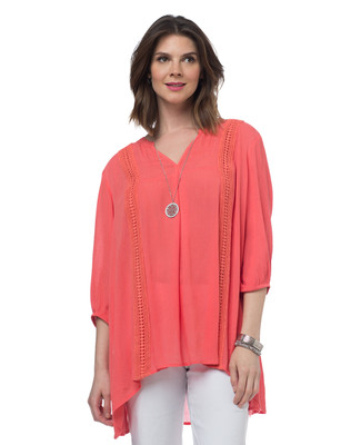 3 Quarter Aline Lace Trim Blouse