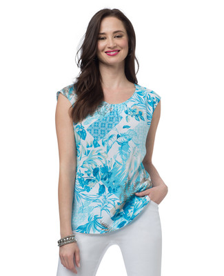 NEW - Petite Tropical Printed Sleeveless Blouse