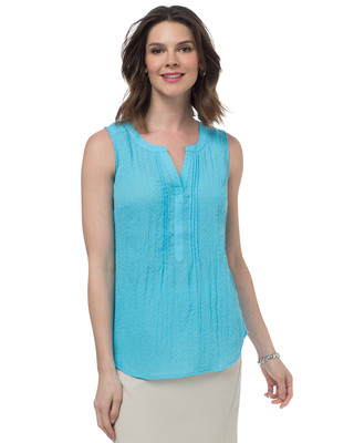 NEW - Textured Pintuck Sleeveless Blouse
