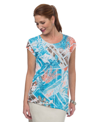 NEW - Asymmetrical Burn Out Print Top
