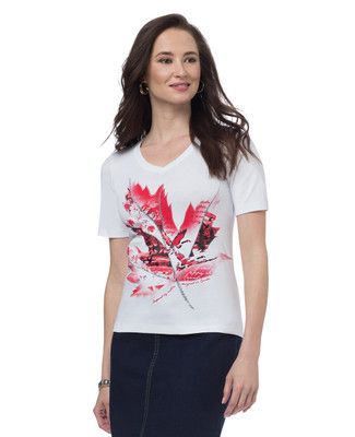 Petite Canada Patchwork Maple Leaf Jersey Tee