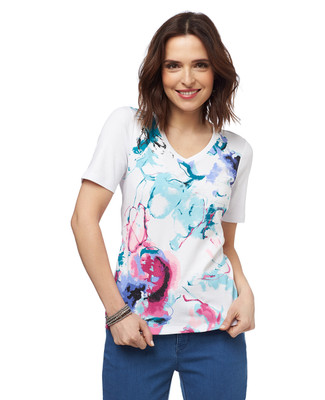 Blooming Floral Graphic V-Neck