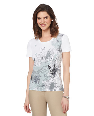 Butterfly Floral Graphic Scoopneck
