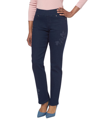 NEW - Embroidered Dark Denim Comfort Jeans