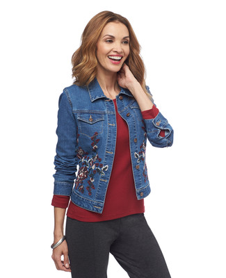 NEW - Embroidered Stretch Jean Jacket