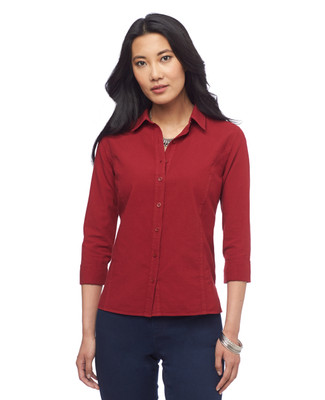 Petite Three Quarter Sleeve Garment Dye Shirt