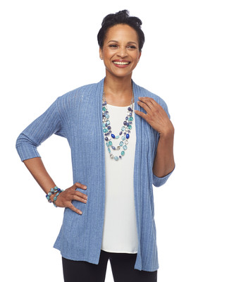 Three Quarter Sleeve Open Front Cardigan