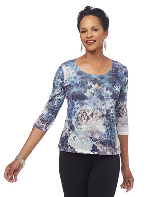 Three Quarter Sleeve Scoopneck Jewel Top