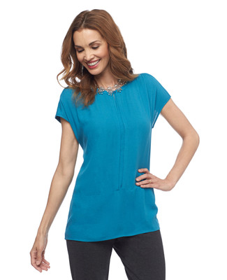 NEW - Lightweight Cap Sleeve Pintuck Shirt