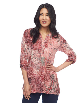 Paisley Roll Tab Sleeve Tunic