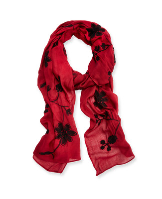 Floral Red Scarf