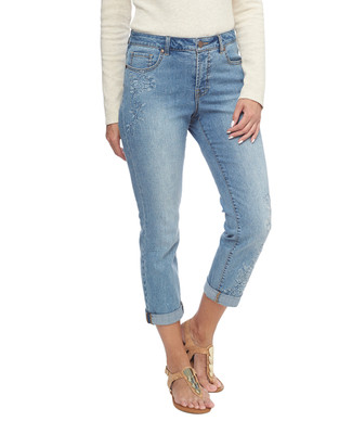 NEW - Floral Embroidered Girlfriend Jeans