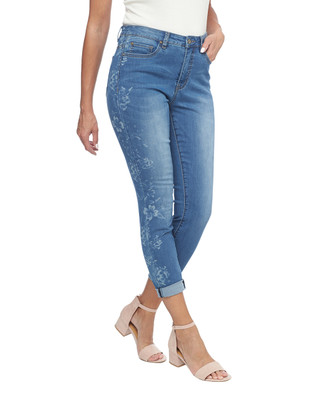 Floral Print Roll Up Jean