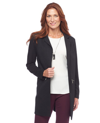 Open Front Jacket With Zipper Pockets