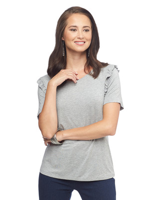 Short Sleeve Ruffle Detail Tee
