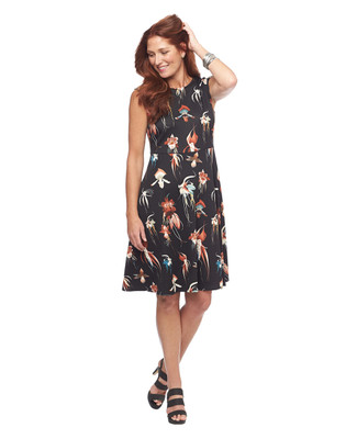 Floral Fit and Flare Scuba Dress
