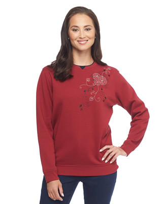 Rose Corsage Notch Sweatshirt