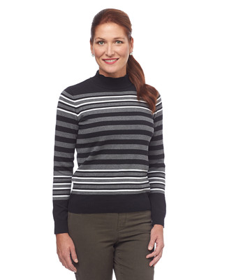 Knit Stripe Mock Neck Sweater
